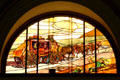 Stage coach stained glass window at Union Pacific Railroad depot. Salt Lake City, UT.