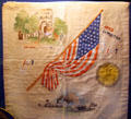 Jamestown Exposition souvenir pillow case at Hampton Roads Naval Museum. Norfolk, VA.