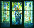 Stained glass window of Woman in Pergola with Wisteria by Tiffany Studios at Chrysler Museum of Art. Norfolk, VA.