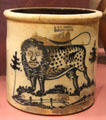 Stoneware crock painted with lion prob. by John Hilfinger of J&E Norton Pottery of Bennington, VT at Bennington Museum. Bennington, VT.