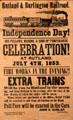 Rutland & Burlington Railroad poster celebrating Independence Day at Vermont History Museum. Montpelier, VT.