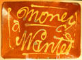 "Redware bowl trailed slip decorated stating ""Money Wanted"" reflecting America's first great depression at Shelburne Museum. Shelburne, VT."
