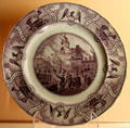 Great Fire of the City of New York on Dec. 10, 1835 commemorative plate at Shelburne Museum. Shelburne, VT.