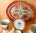 Chinese export porcelain plates & cups with American theme at Shelburne Museum. Shelburne, VT.