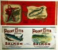 Historic salmon canning labels at Washington State History Museum. Tacoma, WA.