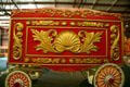 Red & gold circus wagon with Baroque design at Circus World Museum. Baraboo, WI.