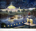 Print of Manufacturer's Building & Wooded Island at night at World's Columbian Exposition by Poole Bros. at Columbus Museum. Columbus, WI.