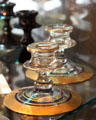 Crystal candlesticks with blue enamel & gold bands at Fostoria Glass Museum. Moundsville, WV.