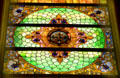Stained glass ceiling of House chamber of Wyoming State Capitol. Cheyenne, WY.
