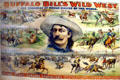 Poster of American Cowboy over scenes of Buffalo Bill's Wild West show at Buffalo Bill Center of the West. Cody, WY.